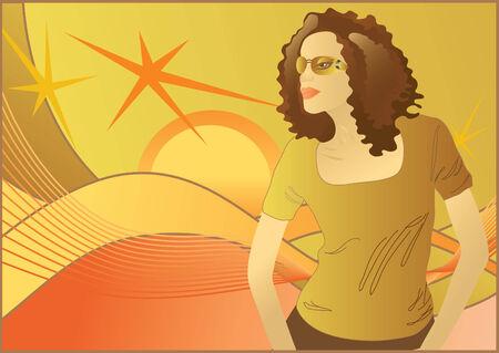 vector illustration of the woman in sunglasses  Stock Illustratie