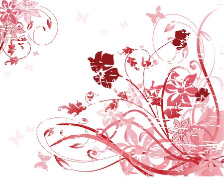 accents: Ilustraci�n vectorial de patr�n floral rosa