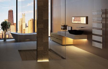 Interior del cuarto de baño moderno en 3D Foto de archivo - 27734088