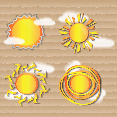 weather icons sun on cardboard backgrond vector