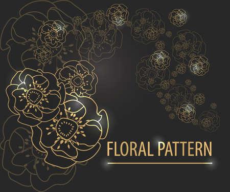 gold vintage floral pattern on black vector