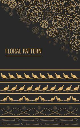 golden flowe pattern vector