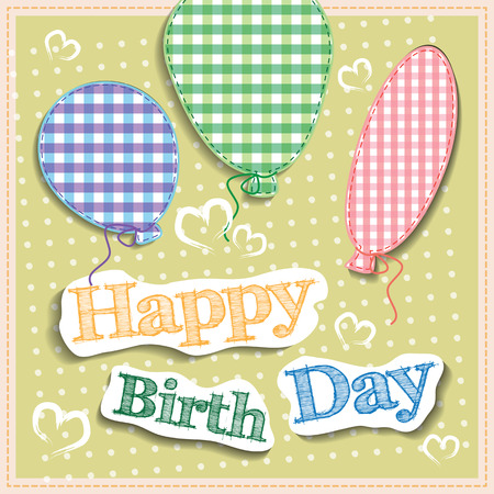 Happy birthday retro postcard with balloons. Vector illustration for your holiday presentation.  Postcard picture in vintage color.
