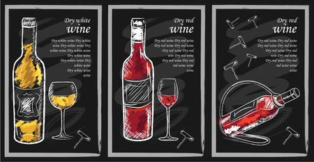 Beba elementos de menú en la pizarra. pizarra restaurante para el dibujo. Mano pizarra dibujada ilustración vectorial menú de bebidas. Carta de vinos, tabla de menú de bebidas, una copa de vino blanco y vino tinto Ilustración de vector