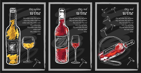 Drink menu elements on chalkboard. Restaurant blackboard for drawing. Hand drawn chalkboard  drink menu vector illustration. wine list, drink menu board, glass of the white wine and red wine 矢量图像