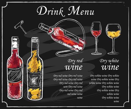 Beba elementos de menú en la pizarra. pizarra restaurante para el dibujo. Mano pizarra dibujada ilustración vectorial menú de bebidas. Carta de vinos, tabla de menú de bebidas, una copa de vino blanco y vino tinto