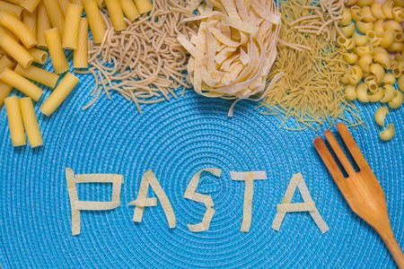 pennie: pasta food lettering, food letters, mixed pasta, dried pasta, pasta selection, pasta top view, Raw pasta, various pasta, blue background