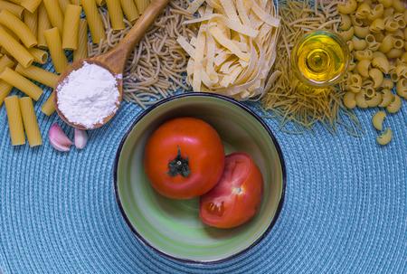 mixed pasta, dried pasta, pasta selection, pasta top view, Raw pasta, various pasta, blue background
