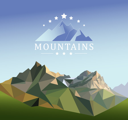 mountain peak: mountain low-poly style illustration, mountain low-poly style illustration, Flat design modern vector illustration concept with copy space on the mountain peak