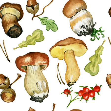 Seamless pattern with wild mushrooms. Hand drawn watercolor painting isolated over white background. Food Clipart illustration. boletus. porcini Stock Photo