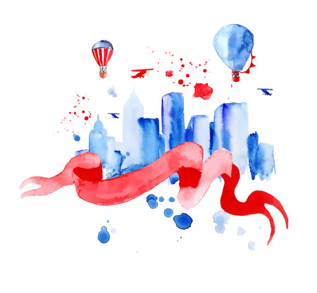 Silhouette overlay city with splashes of watercolor drops streaks landmarks in blue tones with red ribbon and balloons, hand-drawn painting Stock Photo