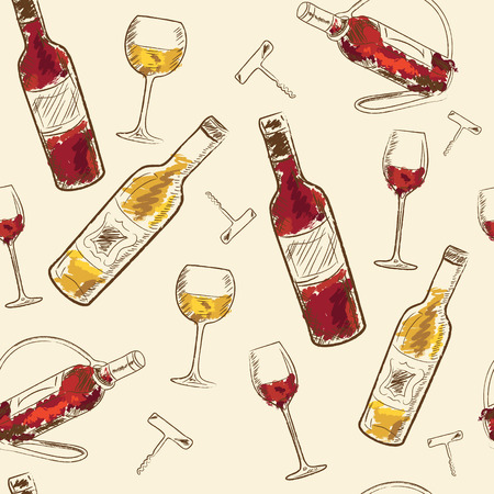 Seamless pattern Drink menu elements. Restaurant blackboard for drawing. wine list, drink menu board, glass of the white wine and red wine