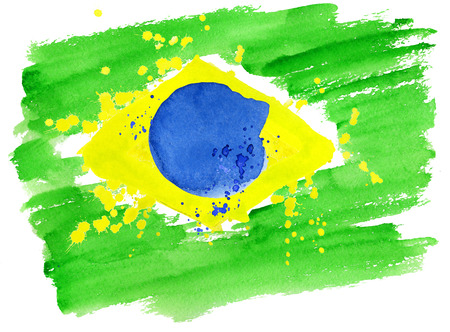 signs and symbols: background watercolor stains. Hand-drawn texture. Brazilian flag made of colorful splashes Signs, symbols. Carnival, Summer, ink color. Rio.