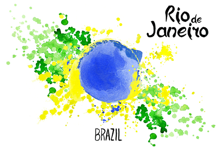janeiro: Inscription Rio de Janeiro Brazil on background watercolor stains. Hand-drawn texture. Brazilian flag made of colorful splashes Signs, symbols. Carnival, Summer, ink color. Rio.