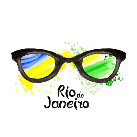 janeiro: Watercolor hand-drawn illustration of hipster and aviator style glasses with inscription Rio de janeiro on background watercolor stains. Brazilian flag made of colorful splashes  Signs, symbols. Carnival, Summer, ink color. Rio. Stock Photo