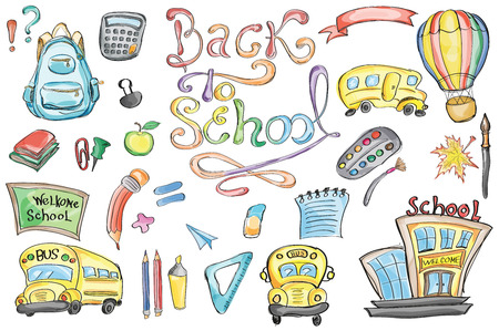 classroom supplies: Welcome Back to School Classroom Supplies Notebook Doodles Hand-Drawn Illustration Design Elements, Freehand drawing