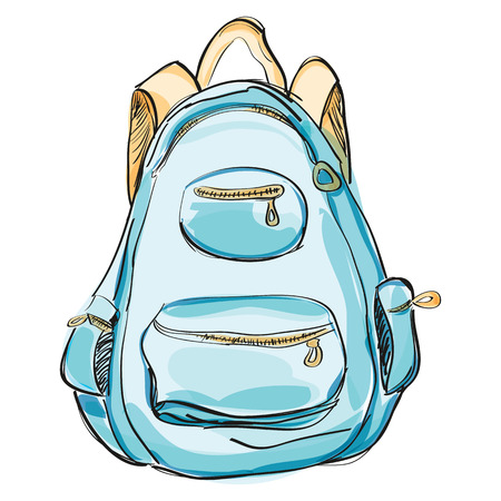 haversack: Hand drawn blue backpack.  illustration isolated on white. Rucksack, knapsack, haversack, satchel for travel, hiking, students, school. Watercolor style