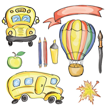 classroom supplies: Welcome Back to School Classroom Supplies Notebook Doodles Hand-Drawn Illustration Design Elements, Freehand drawing,  Watercolor style Illustration