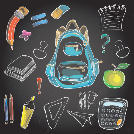 classroom supplies: Welcome Back to School Classroom Supplies Notebook Doodles Hand-Drawn Illustration Design Elements, Freehand drawing, blackboard background. Illustration