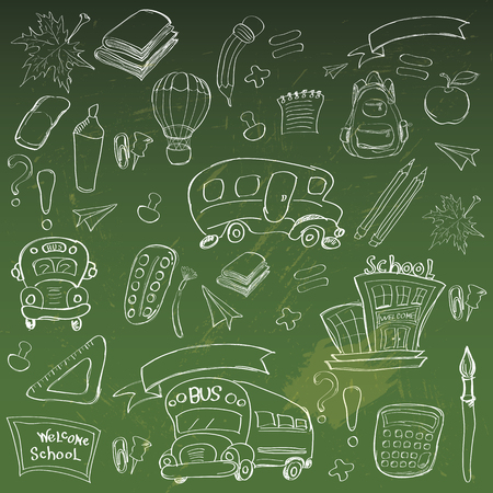 classroom supplies: Welcome Back to School Classroom Supplies Notebook Doodles Hand-Drawn Illustration Design Elements, Freehand drawing, Vector. blackboard background. Illustration