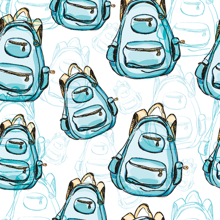 satchel: Hand drawn blue backpack seamless pattern.  illustration isolated on white. Rucksack, knapsack, haversack, satchel for travel, hiking, students, school. Watercolor style