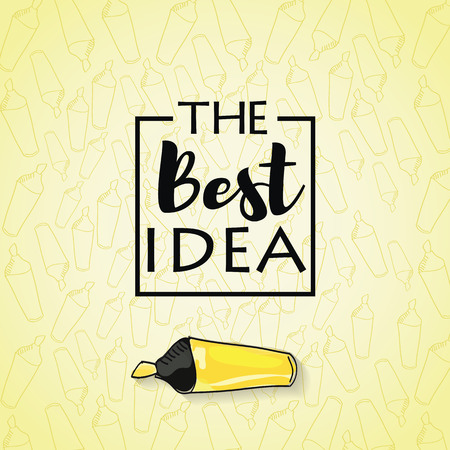 best background: the best idea inscription in the black box on a yellow background with a marker pen, concept label, conceptual image