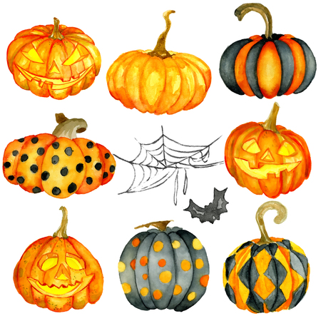 Watercolor Halloween set. Hand drawn holiday illustrations isolated on white background: natural and decorative pumpkins with spider web. Artistic autumn decor clip art Stockfoto
