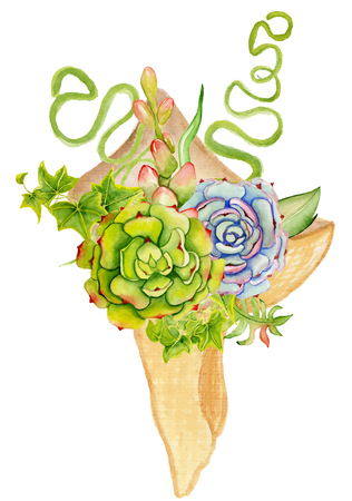 green card: Succulent and cactus bouquet. Boho style for your design. Wedding invitation, Valentines Day cards, ect Stock Photo