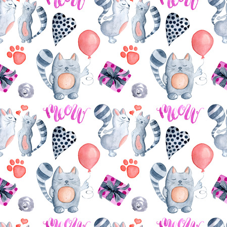 Valentines Day greeting card template, seamless pattern, poster, wrapping paper. Watercolor kissing cats with balloon, hearts, Meow lettering, footprints,presents and other romantic elements Stock Photo