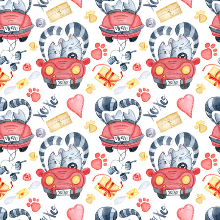 Valentines Day greeting card template, seamless pattern, poster, wrapping paper. Watercolor cats in just married red car and brush lettering xoxo, presents and gifts, red hearts