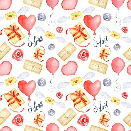 Watercolor Valentines Day greeting card template, seamless pattern, poster, wrapping paper. Gifts and presents, hearts, baloons and other romantic elements