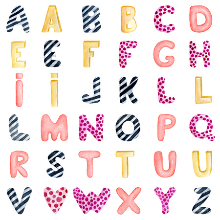 Watercolor hand drawn alphabet. Hand drawn calligraphy letters. Lettering,  isolated on white, kids abc, love, party Stock Photo