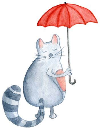 Watercolor cat with red umbrella, hand-drawn cartoon illustration for greeting cards, invitations, Valentine`s cards