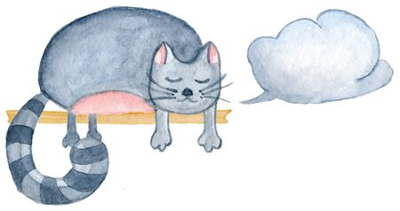 Watercolor cat, hand-drawn cartoon illustration for greeting cards, invitations, Valentine`s cards