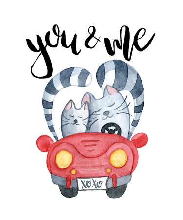 Watercolor cats in just married red car with inscription you and me, hand-drawn cartoon illustration for greeting cards, invitations, Valentine`s cards