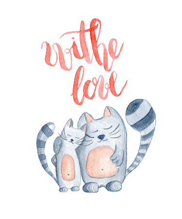 Watercolor cats with inscription With love, hand-drawn cartoon illustration for greeting cards, invitations, Valentine`s cards