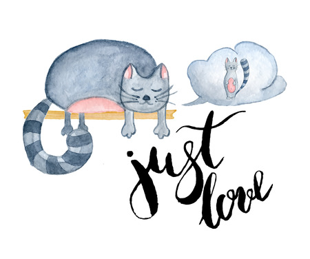 Watercolor cats with inscription Just love, hand-drawn cartoon illustration for greeting cards, invitations, Valentine`s cards