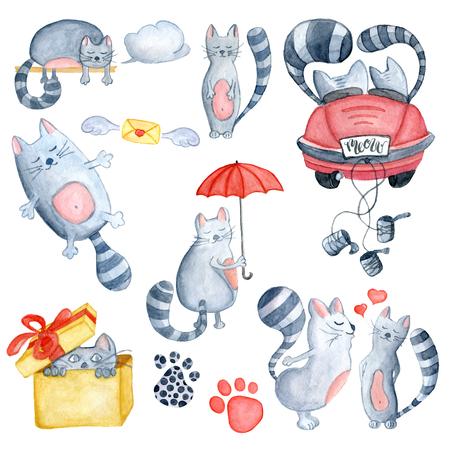 水彩だけ結婚している赤い車、赤い傘とでバックスを迎えるにあたって、いくつかの猫が大好きで設定します。グリーティング カード、招待状、バ