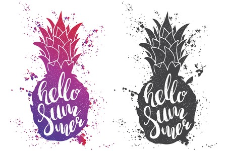 script writing: Hand drawn illustration of isolated black and color pineapples silhouette on a white . Typography poster with lettering inside with ink splashes. The inscription Hello summer