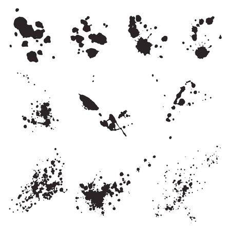 Set van zwarte splash. Grunge-inkt vlekken en druppels. Hand getrokken vectorillustratie van uitstekende kwaliteit