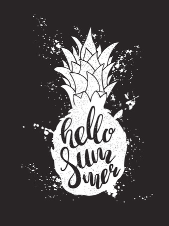 script writing: Hand drawn illustration of isolated white pineapple silhouette on a black. Typography poster with lettering inside with ink splashes. The inscription Hello summer