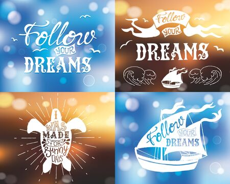 Set of Typography posters with lettering with bokeh. The inscription quote. Abstract Blurred