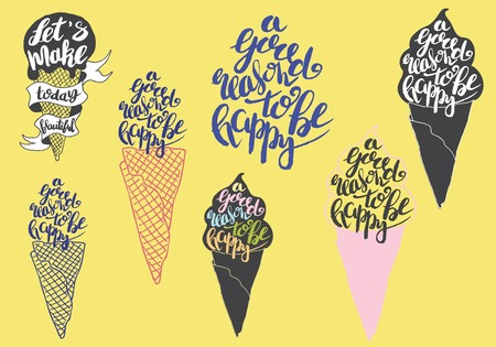 Sweet summer Hand drawn lettering with silhouette ice cream cone, typography A good reason to be happy on the yellow background.  Inspiring label, greeting card, template, poster, banner Illustration
