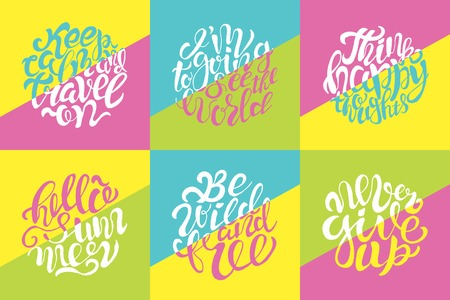 Hand drawn color typography posters with brush lettering design. Quotes about summer, traveling and motivation for posters or greeting cards.