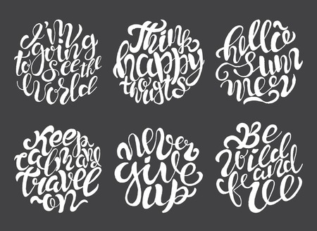 Hand drawn typography posters with brush lettering design. Quotes about summer, traveling and motivation for posters or greeting cards. Black and white.