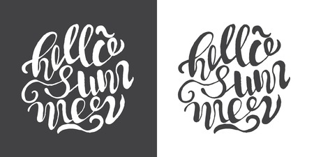 Hand drawn typography posters with brush lettering design. Quotes about summer, traveling and motivation for posters or greeting cards. Inscription: Hello summer. Black and white.