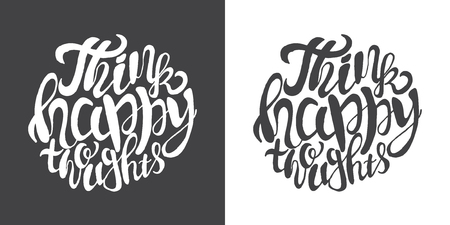 Hand drawn typography posters with brush lettering design. Quotes about summer, traveling and motivation for posters or greeting cards. Inscription: Think happy thoughts. Black and white.