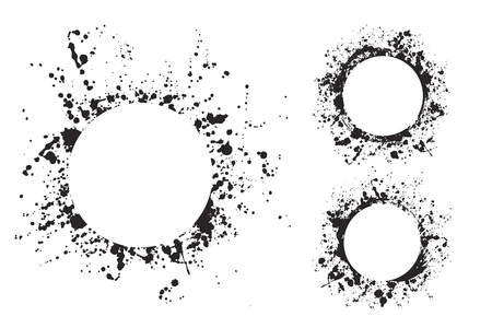 Splatter ink round frame backgrounds paints set with black splash on white. Grunge blots and drops. High quality manually traced illustration