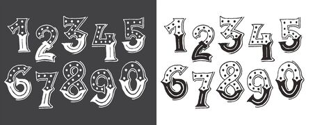 Hand drawn victorian design typography number, black and white lettering