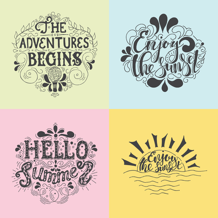 Summer Hand drawn lettering, typography inscriptionAdventures begins. Inspiring label, greeting card, template, poster, banner Illustration